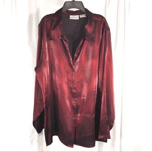 Red Shimmer Metallic Tunic Shirt, Size XL